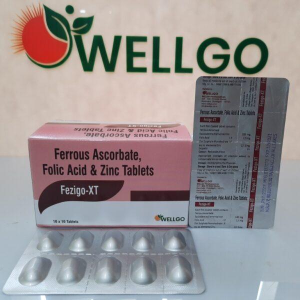 Ferrous Ascorbate 100mg +Folic Acid 1.5mg + Zinc Sulphate Monohydrate 22.5mg tablets